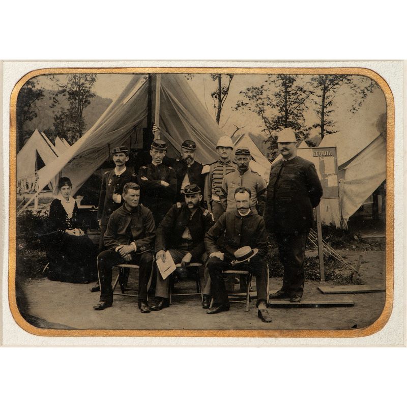 Unusual Full Plate Tintype Group Portrait, Probably at a Military Encampment