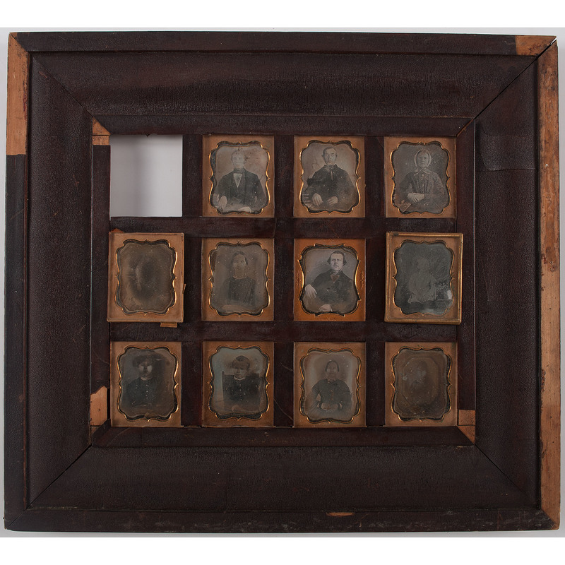 Daguerreian Wall Frame Containing 11 Sixth Plate Daguerreotypes