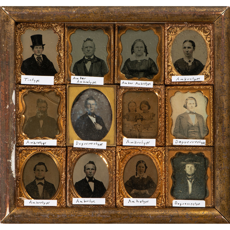 Daguerreian Display Frame Containing 12 Ninth Plate Images