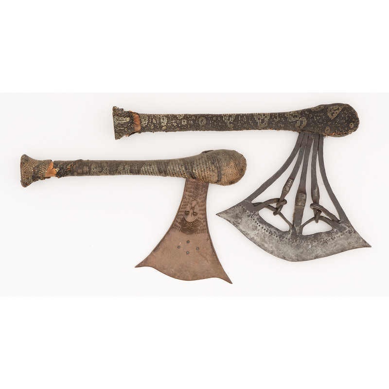 Songye Axes with Reptilian Skin Covered Handles