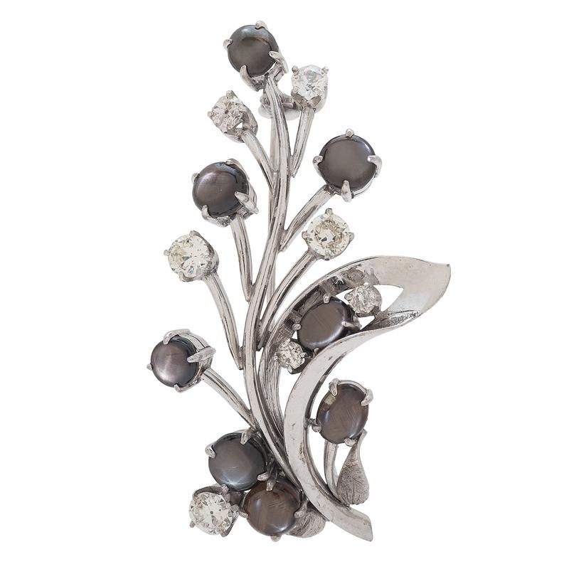 14 Karat White Gold Black Star Sapphire and Diamond Brooch