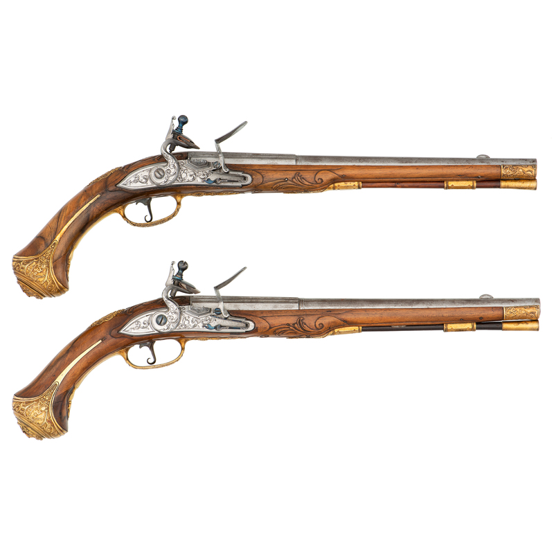 Gilt Bronze-Mounted Flintlock Pistols