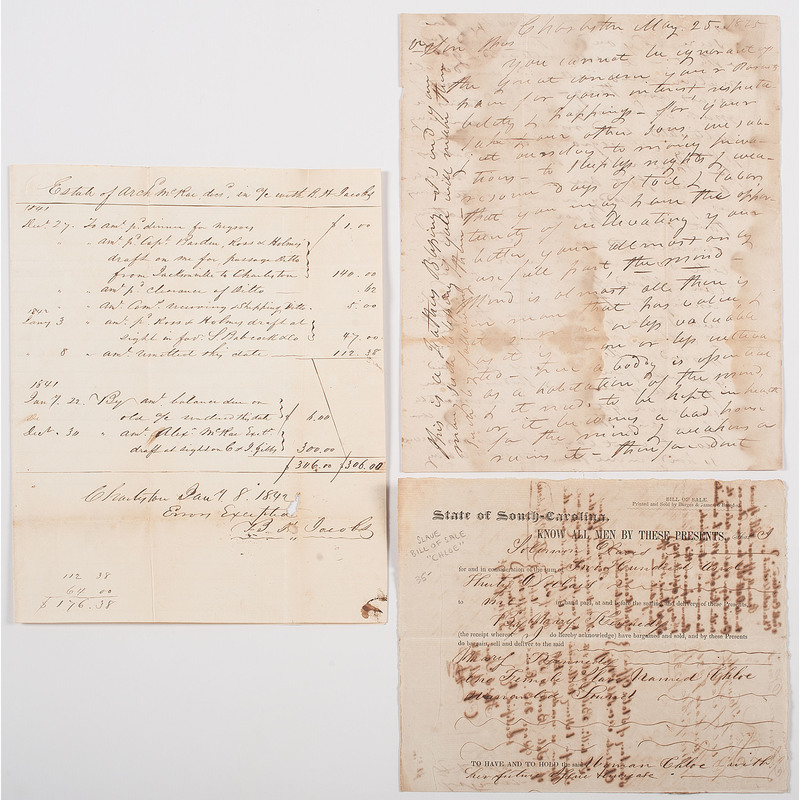 Two Slavery Documents and a Letter from South Carolina