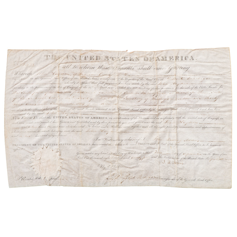 [Americana - Signed President Adams] John Quincy Adams Signed Land Grant, 1825 for Land in Michigan Territory; Framed