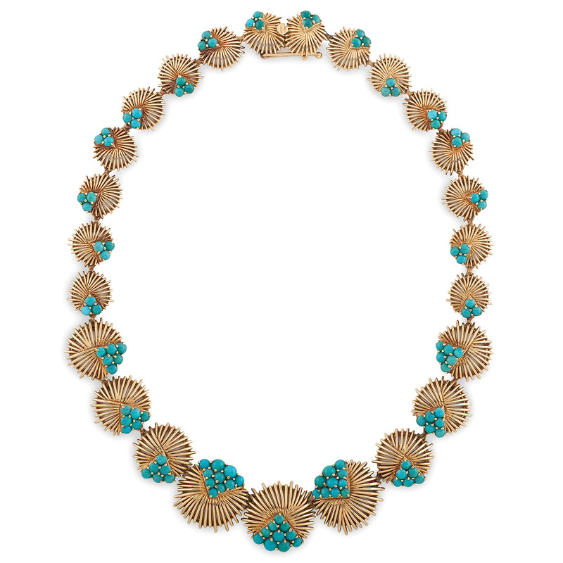 Tiffany & Co. 18 Karat Gold Turquoise Necklace