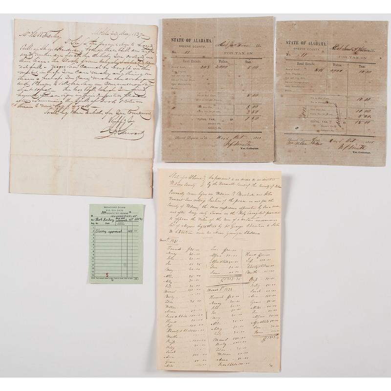 Alabama Slavery-Related Documents, Lot of 4