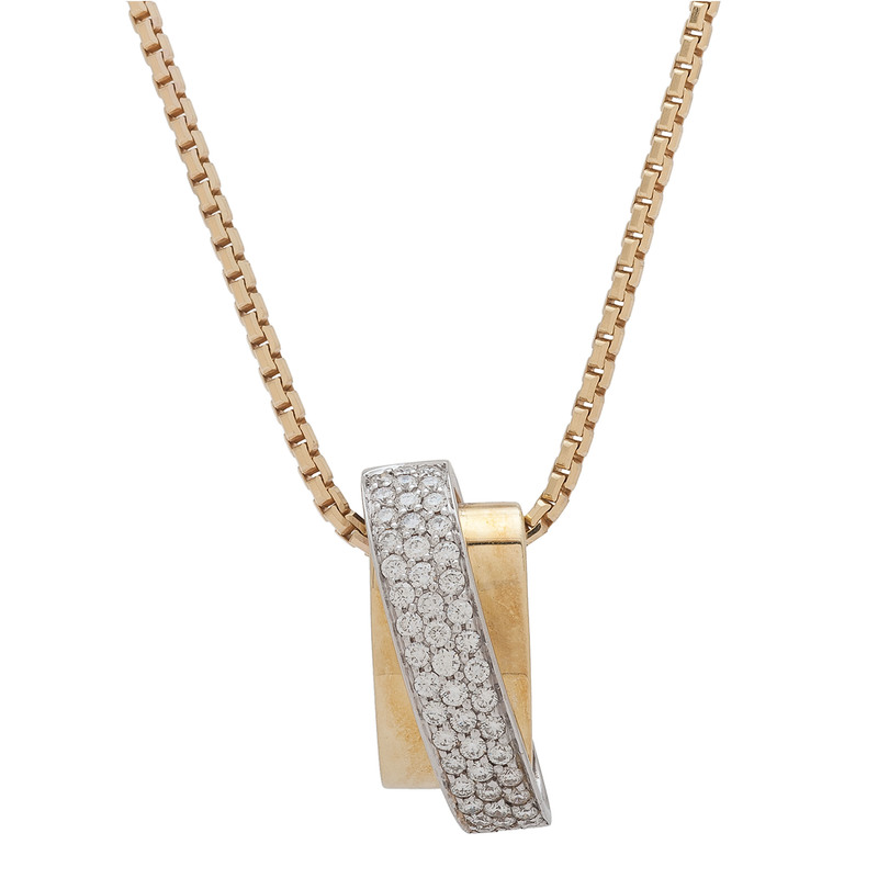 Fana 18 Karat Gold Pendant and 14 Karat Gold Chain