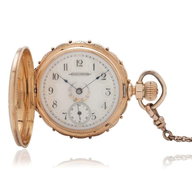 Columbus 14 Karat Yellow Gold Hunter Case Pocket Watch
