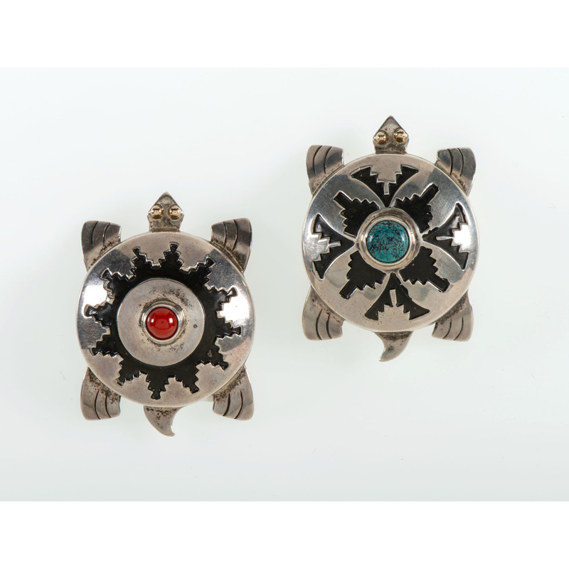 Leonard Nez (Dine, act. 1980) Navajo Sterling Silver Overlay and Gold Turtle Rattles