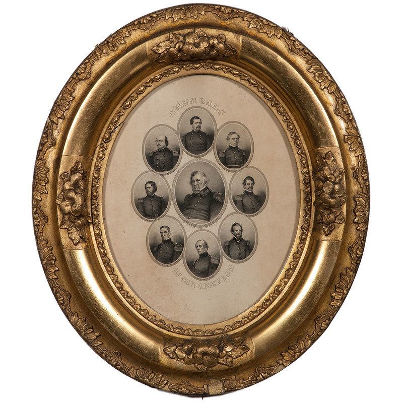 President Lincoln and Cabinet and Generals of Our Army 1861, Framed Civil War Engravings