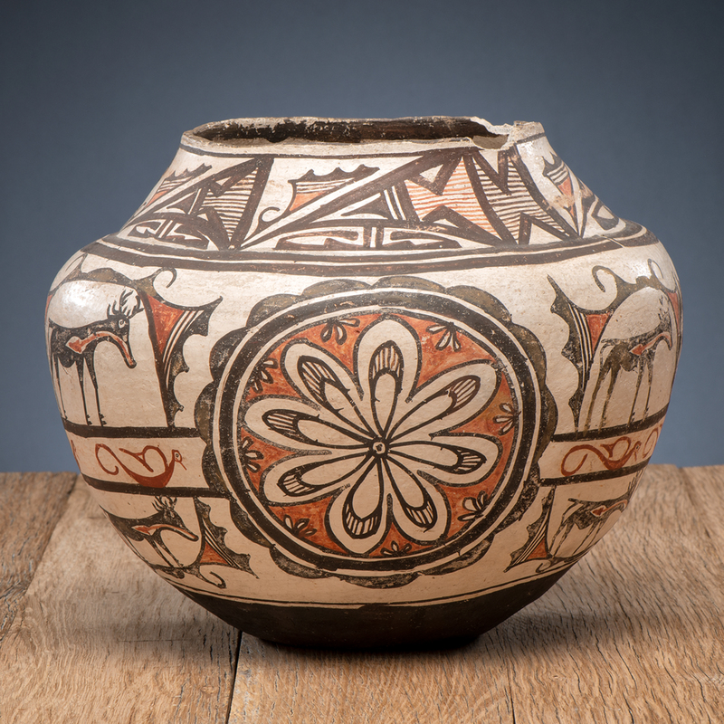 Zuni Polychrome Pottery Olla, Deaccessioned from the Cass County Historical Society, Minnesota