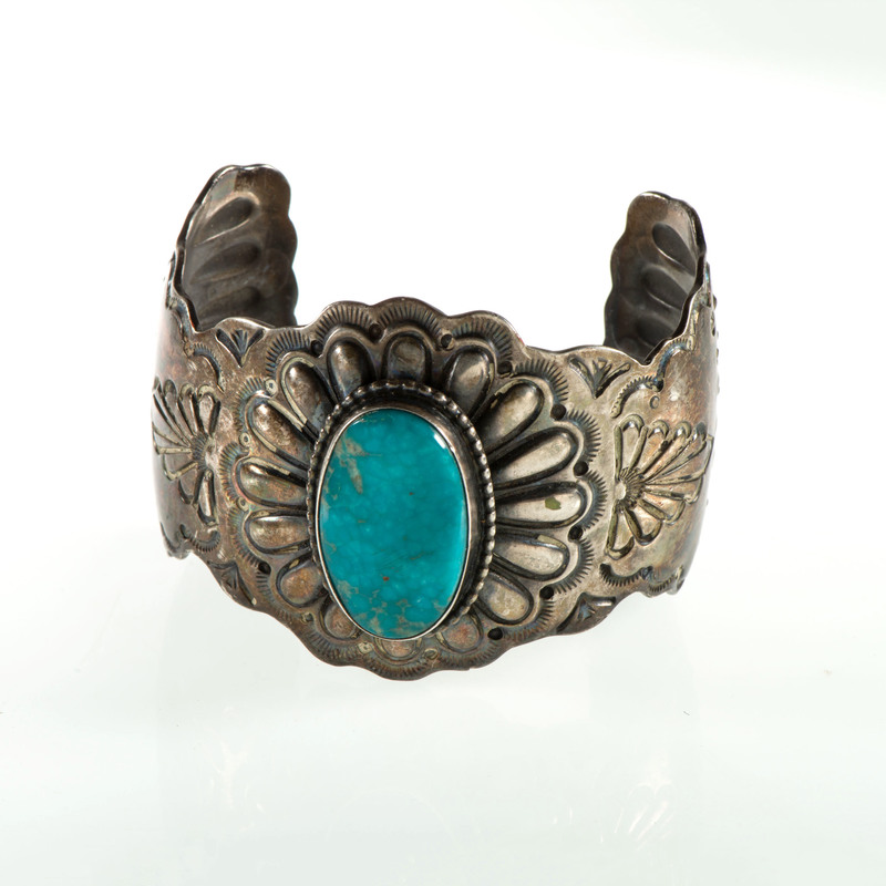 Ray Delgarito (Dine, 20th century) Navajo Sterling Silver and Turquoise Cuff Bracelet, From the Estate of Krystal E. Nitschke, Chicago, Illinois