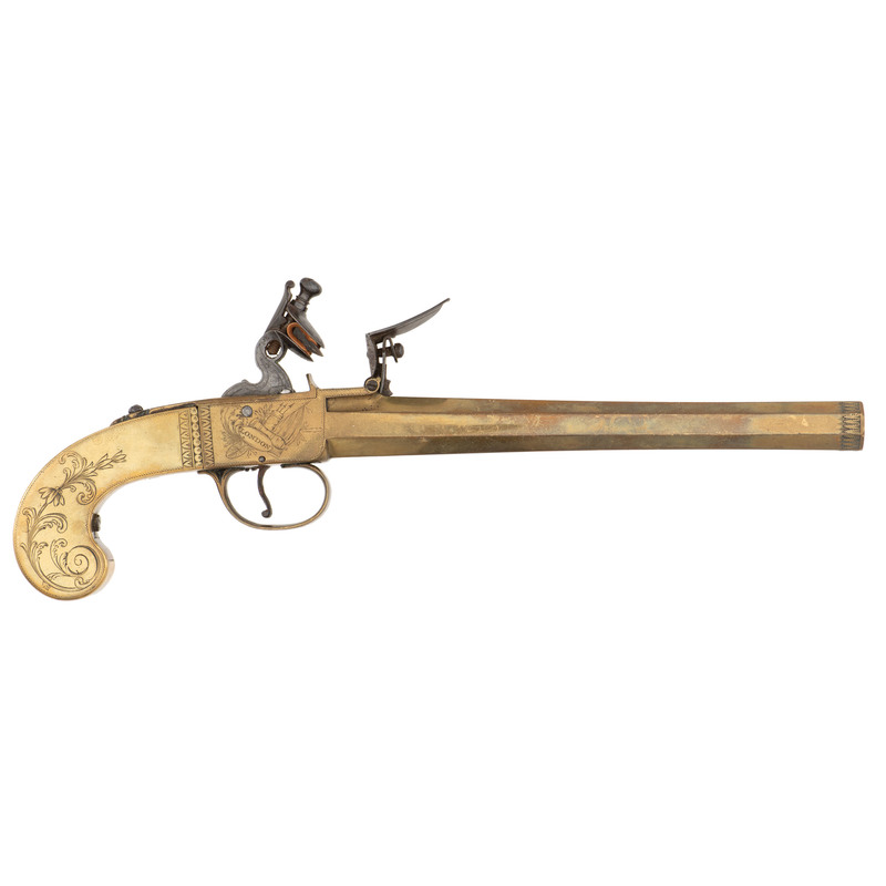 Rare All Brass Boxlock Flintlock Pistol by Joyner