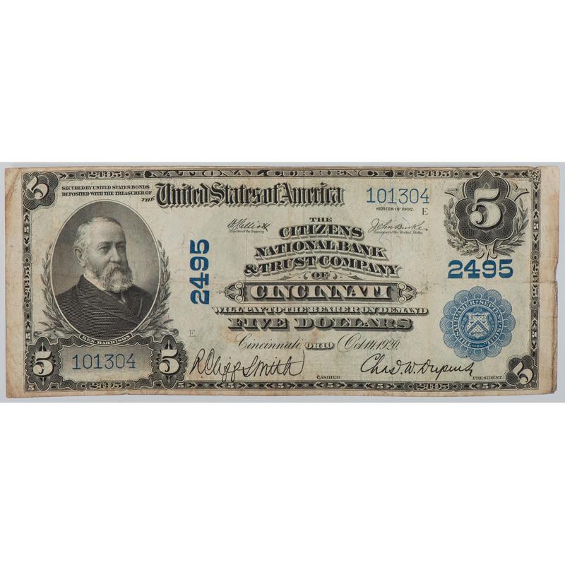 United States $5 Bill National Currency Series of 1902 Cincinnati