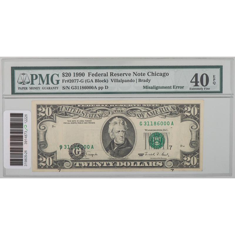 United States $20 Bill Misaligned 1990