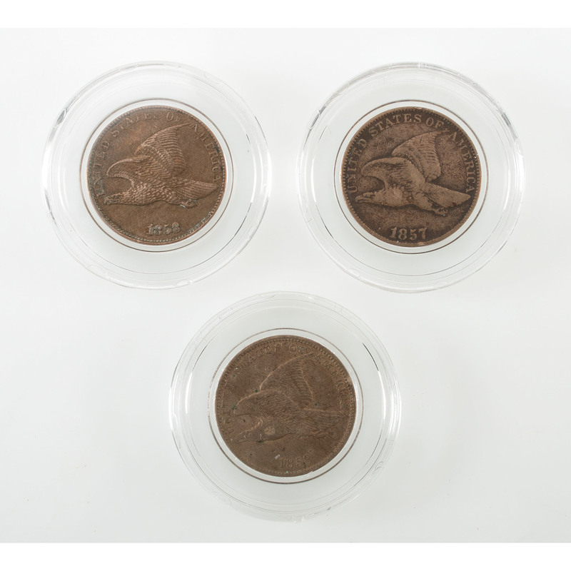 Flying Eagle Pennies, Lot of Three