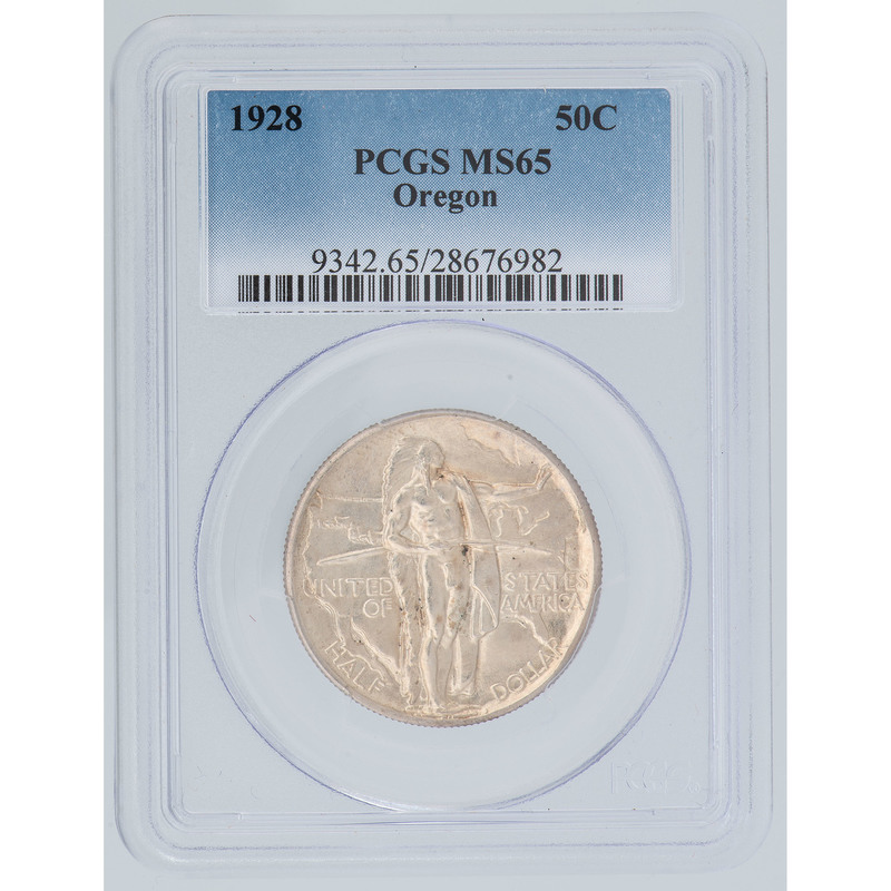 United States Oregon Trail Memorial Commemorative Half Dollar 1928, PCGS MS65