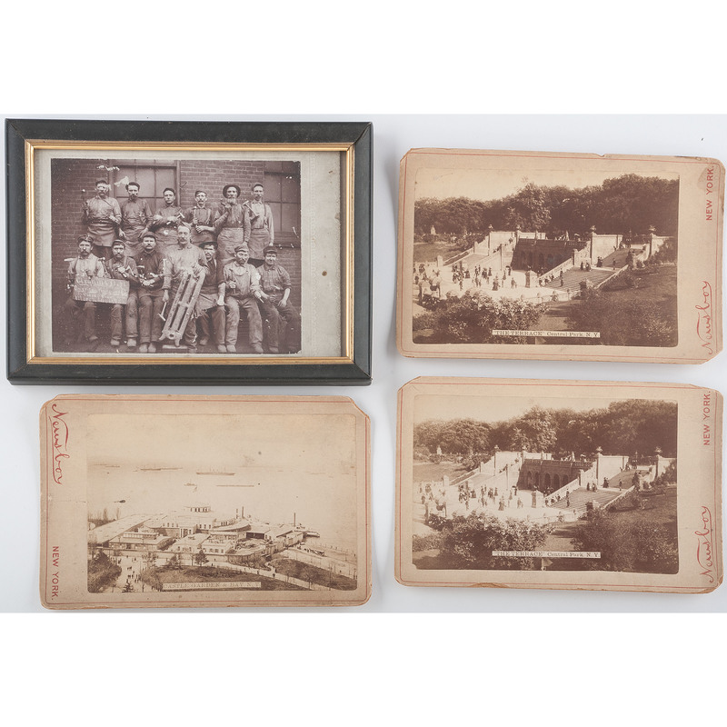 Thee Cabinet Cards Related to New York City, Plus a Framed Image of American Radiator Workers ca 1898