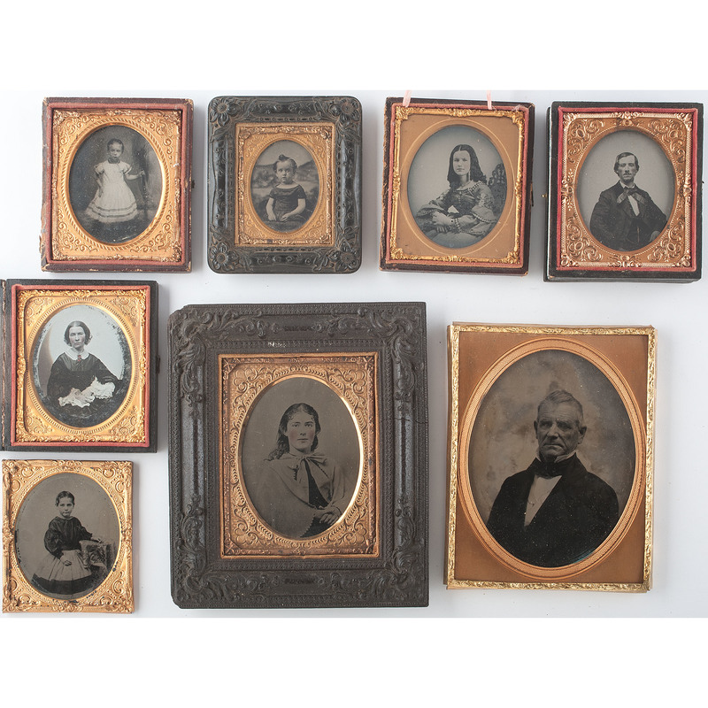 Group of Nine Ambrotypes and Tintypes of Men, Women, and Children, Three of Whom are Identified