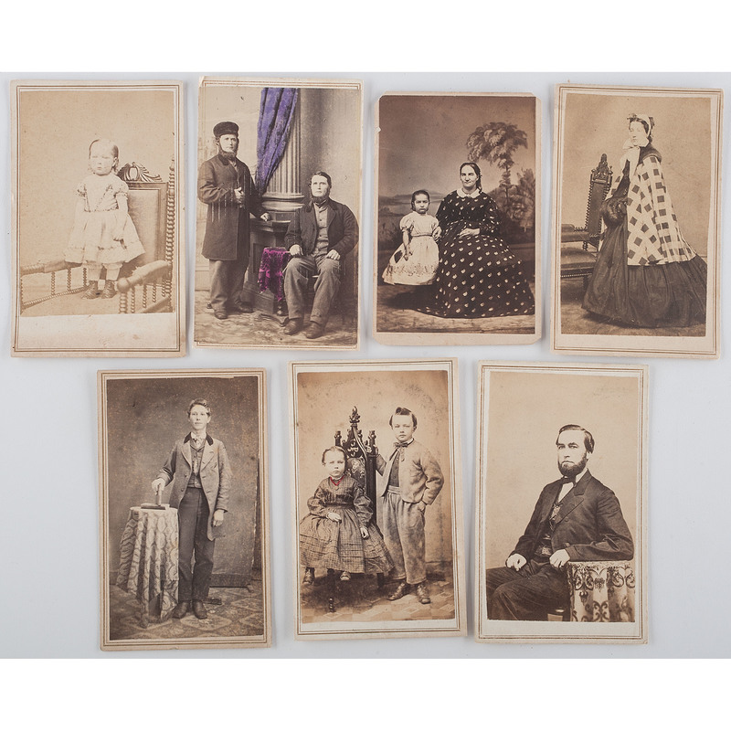 Collection of CDVs Featuring Men, Women, and Children