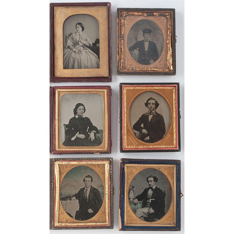 Ambrotype Portraits of Sartorially Minded Subjects, Lot of 6