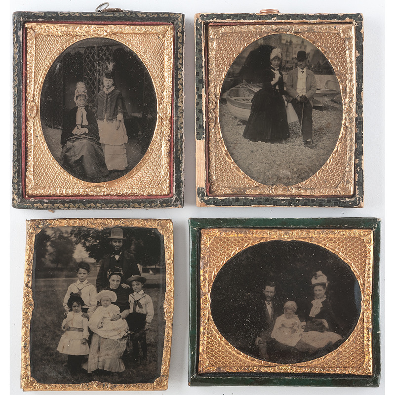 Visually Engaging Outdoor Ambrotypes of Families, Lot of 4
