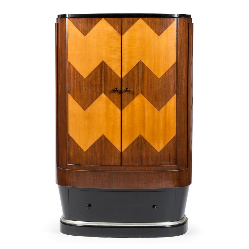 Art Deco Cabinet in Walnut and Tiger Maple