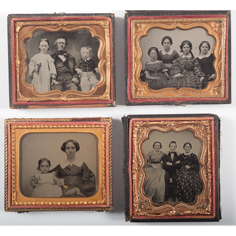 Sixth Plate Ambrotype Family Portraits, Lot of 4