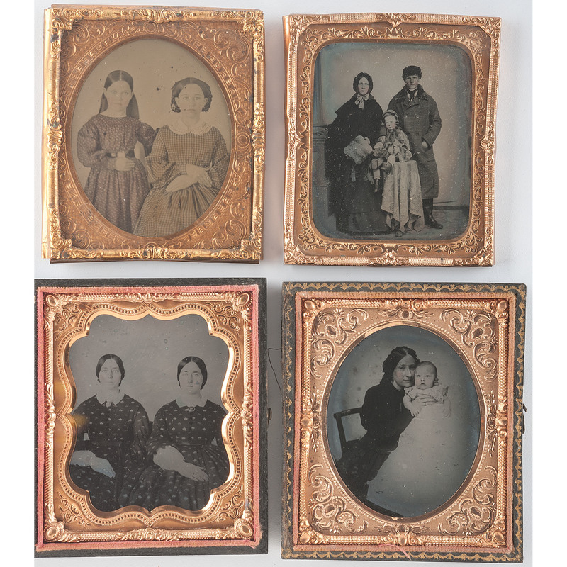 Four Delightful Sixth Plate Ambrotypes of Family Duos and Trios
