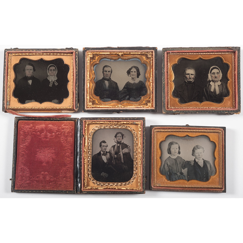 Lot of Five Sixth Plate Cased Images of Paired Sitters, Including Four Ambrotypes
