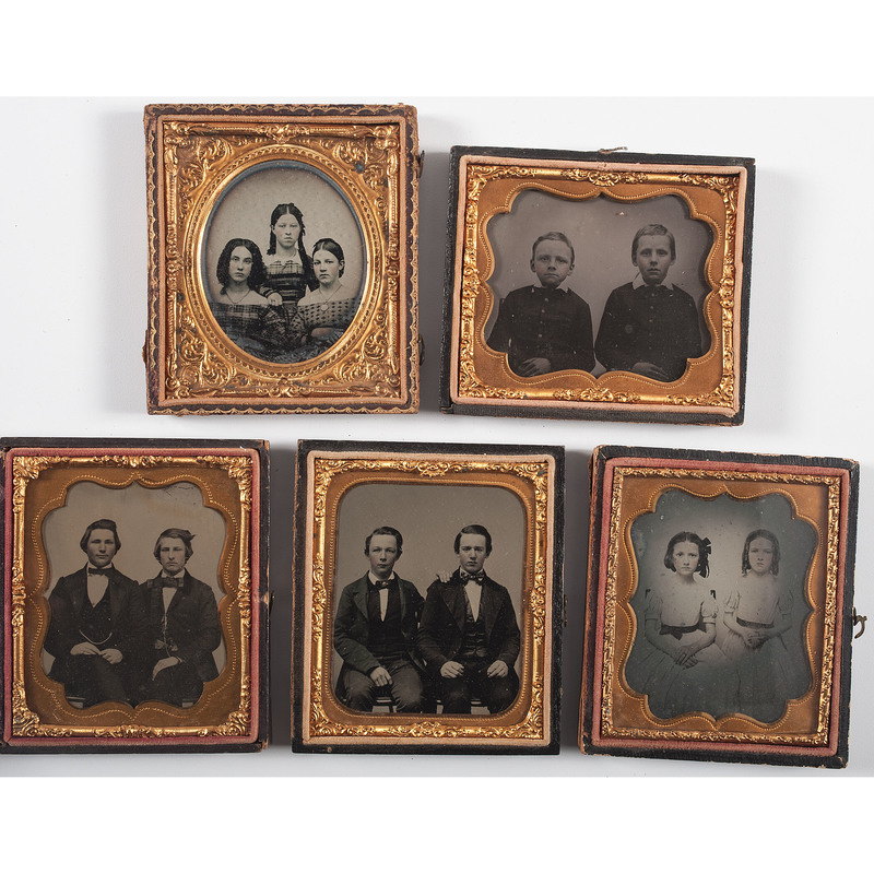 Five Sixth Plate Ambrotypes of Children in Pairs of Groups of Three