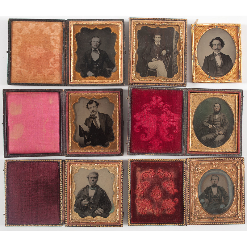 Sixth Plate Ambrotypes of Young Men with Facial Hair, Lot of 7