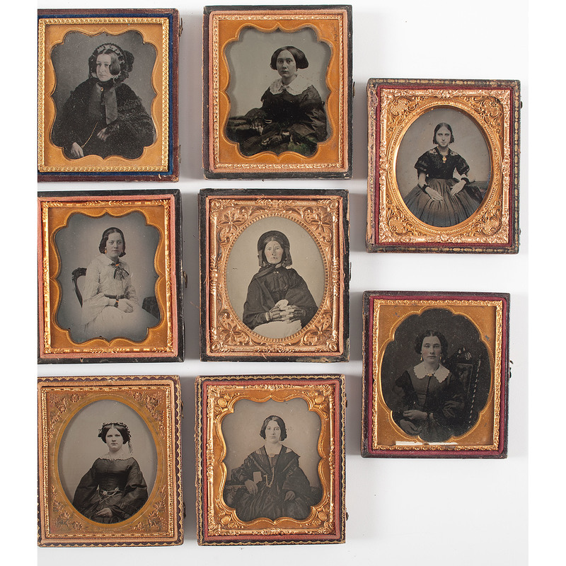 Fine Sixth Plate Portraits of Stylish Young Women, Lot of 8