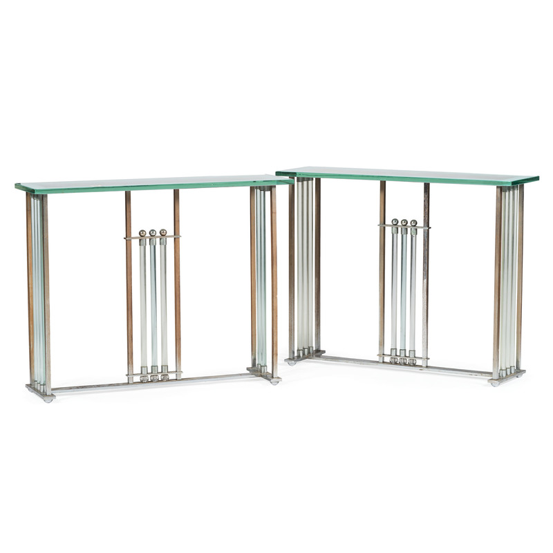 Contemporary Chrome and Glass Console Tables