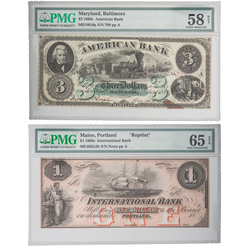 United States Bank Notes from 1860s PMG, Lot of Two