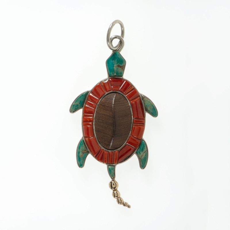 Lyndon Tsosie (Dine, b. 1968) Navajo Sterling Silver and 14K Gold Inlaid Pendant