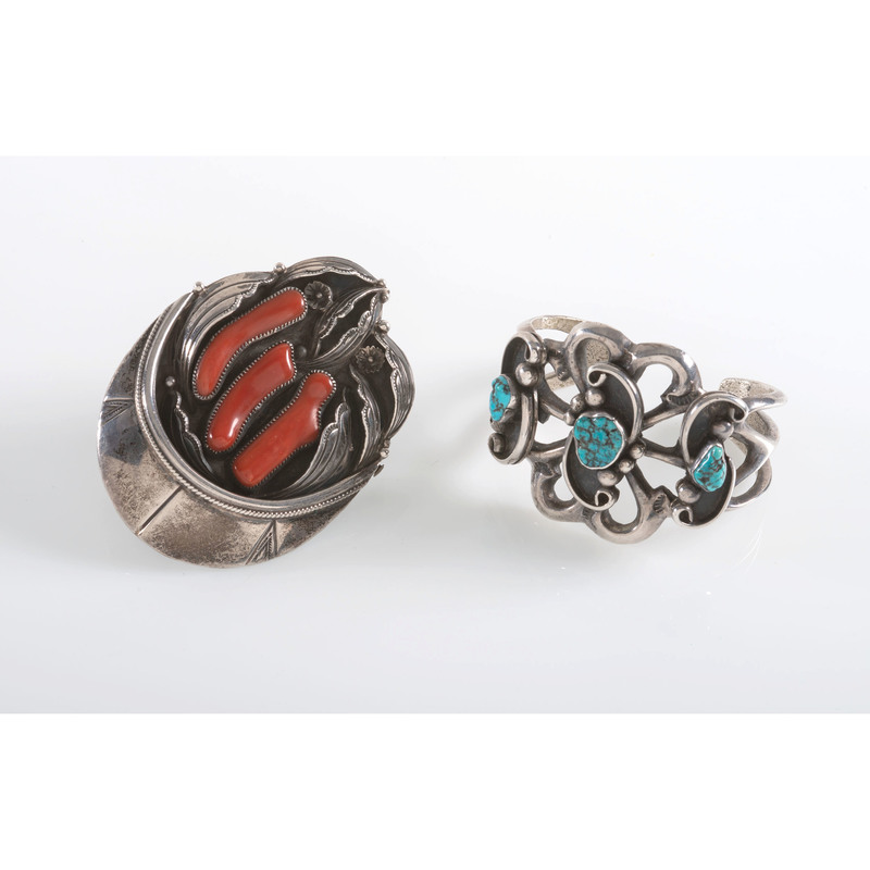 Navajo Turquoise and Silver Cuff PLUS A Silver and Coral Belt Buckle