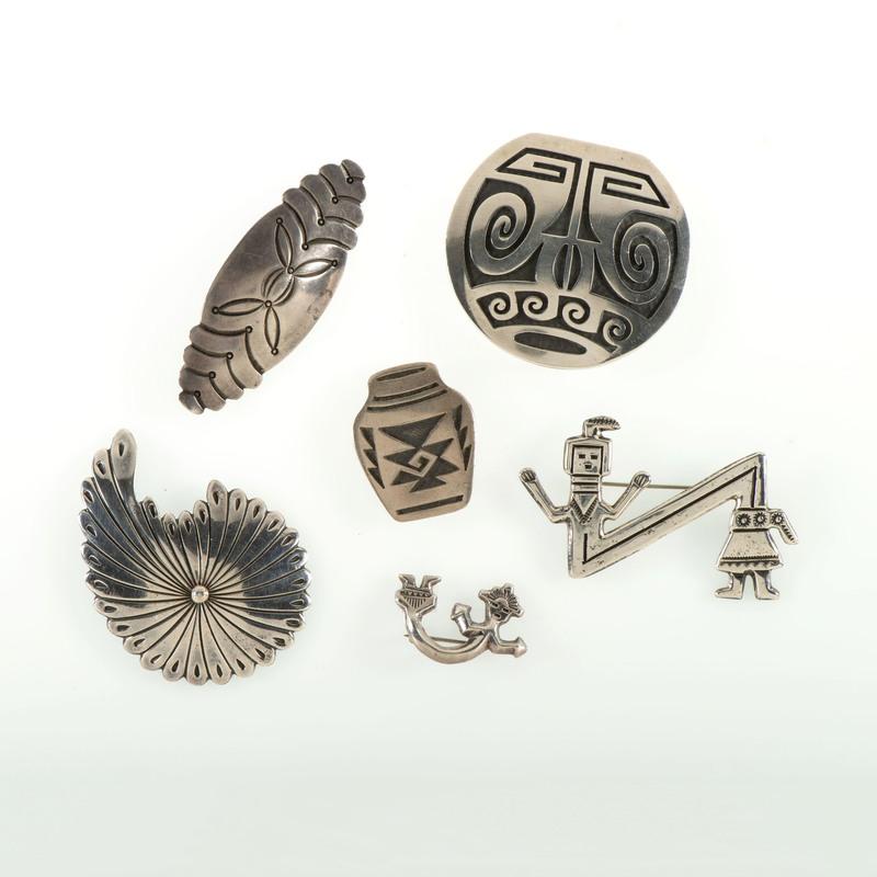 Navajo and Hopi Silver Pins, Pendants, and Bolo Slide