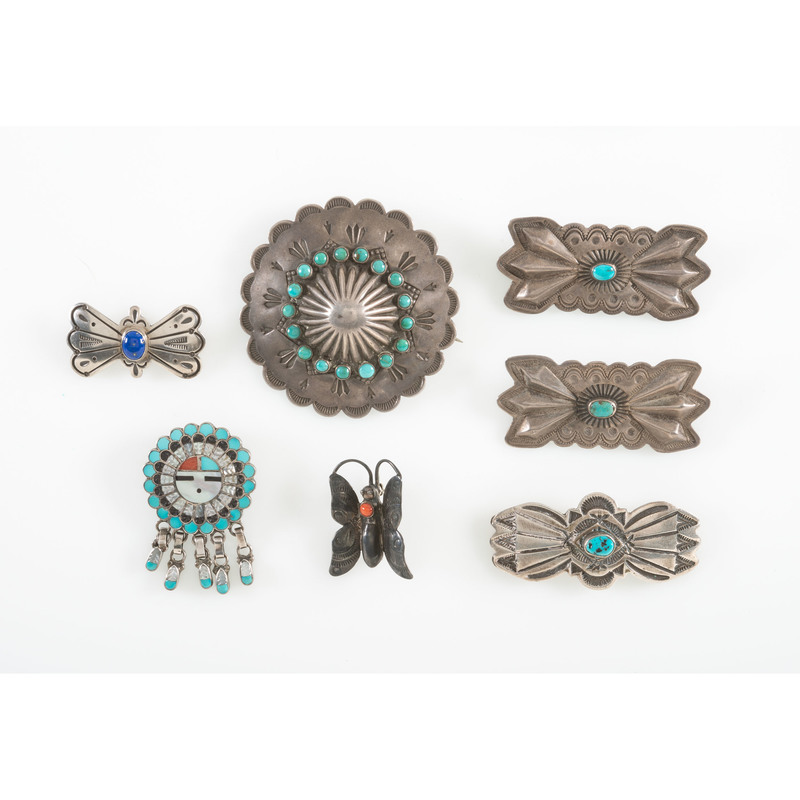 Navajo Stamped Silver and Turquoise Pins