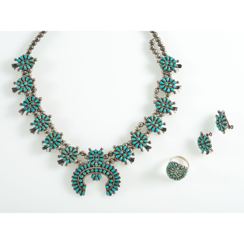 Zuni Petit Point Turquoise Squash Blossom Necklace, Earrings, AND Ring Set