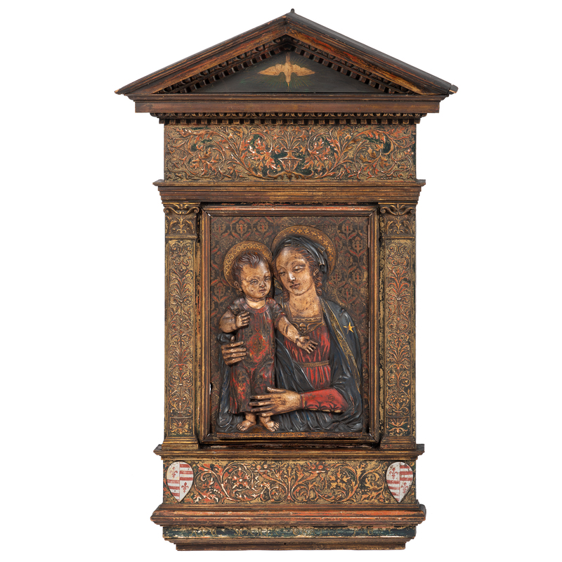 Italian Carved and Polychromed Devotional Bas-Relief of Madonna and Child