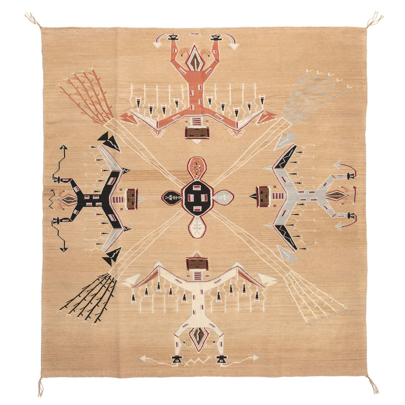 Helene Nez (Dine, 20th century) Navajo Multi-Award Winning Sandpainting Weaving / Rug