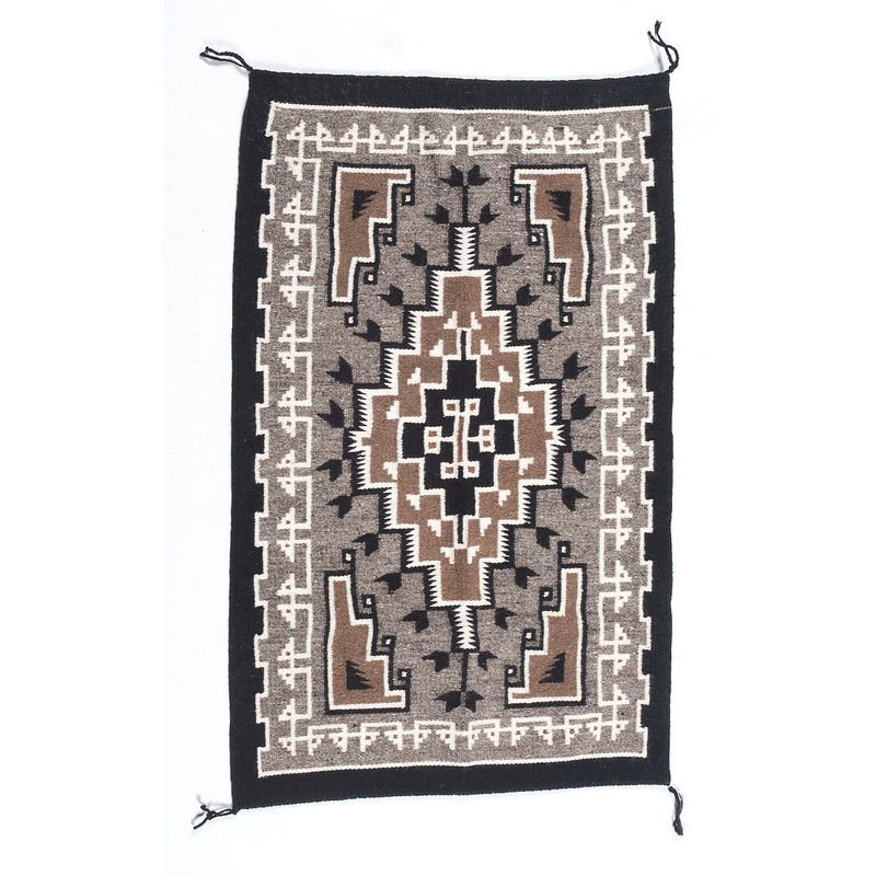 Caroline Lewis (Dine, 20th century) Navajo Two Grey Hills Weaving / Rug