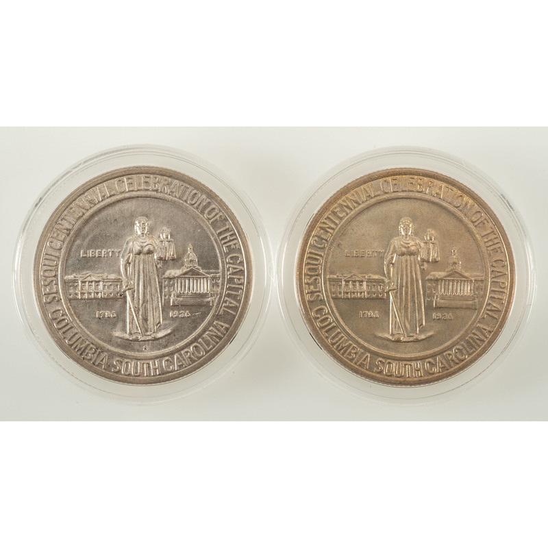 United States Columbia, SC Sesquicentennial Commemorative Half Dollars, Lot of Two