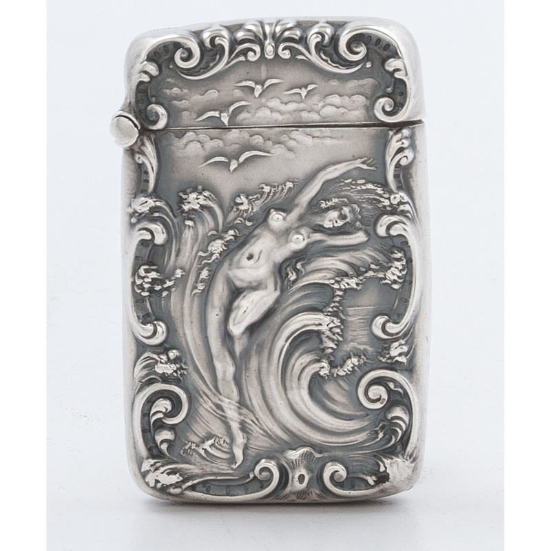 Unger Brothers Sterling Match Safe, Lady in the Waves