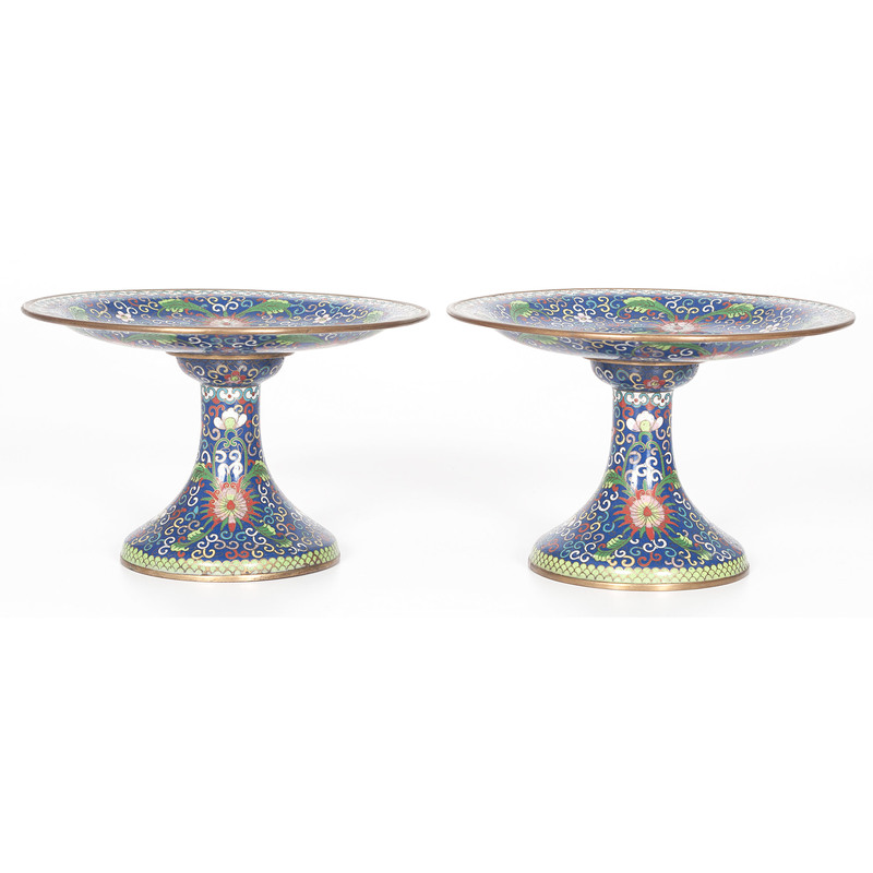 Pair of Japanese Cloisonné Tazza