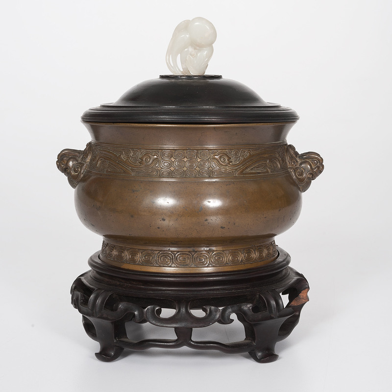Chinese Bronze Censer with White Jade Pendent
