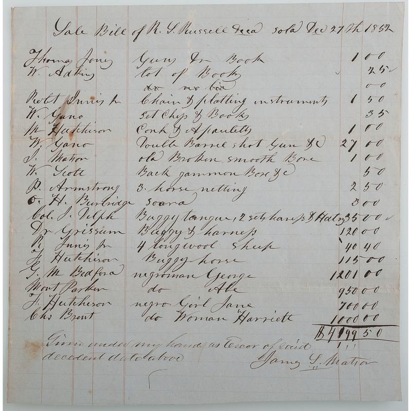 1852 Bourbon County, KY Slave Bill of Sale