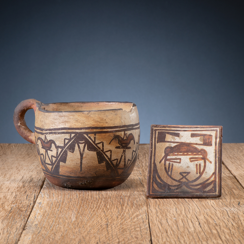 Polacca Pottery Tile and Mug, From The Harriet and Seymour Koenig Collection, NY