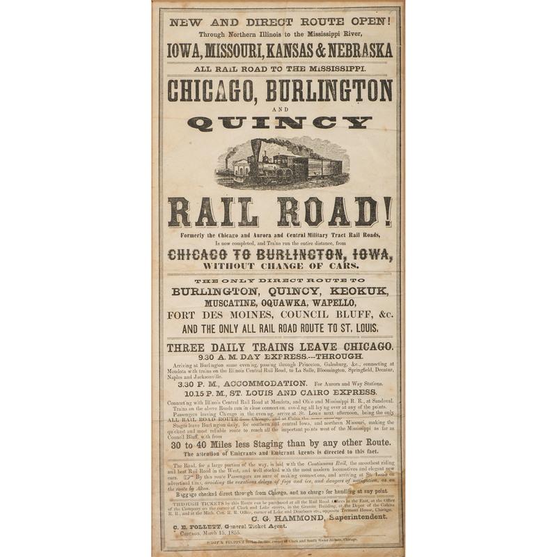 Illustrated Chicago, Burlington, and Quincy Railroad Broadside, 1855